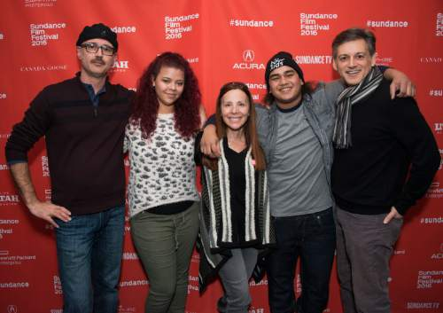 """From left, director Keith Fulton, Jennifer Coffield, Vonda Viland, AJ Wright and director Louis Pepe pose at the premiere of """"The Bad Kids"""" during the 2016 Sundance Film Festival on Friday, Jan. 22, 2016, in Park City, Utah. (Photo by Arthur Mola/Invision/AP)"""