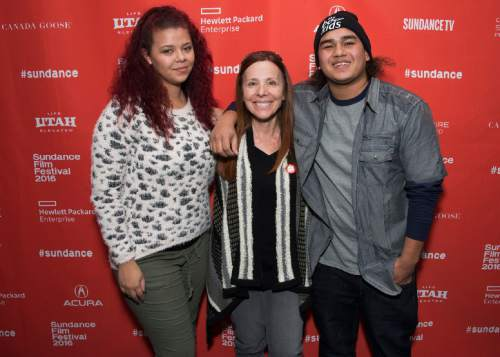 """From left, Jennifer Coffield, Vonda Viland and AJ Wright pose at the premiere of """"The Bad Kids"""" during the 2016 Sundance Film Festival on Friday, Jan. 22, 2016, in Park City, Utah. (Photo by Arthur Mola/Invision/AP)"""