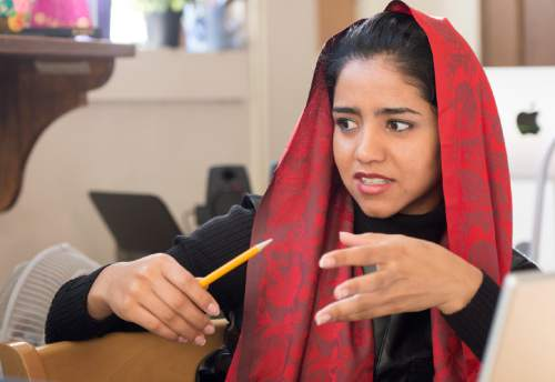 "Rick Egan  |  The Salt Lake Tribune  Sonita Alizadeh in class at Wasatch Academy in Mount Pleasant, who is the subject of ""Sonita,"" a documentary screening at the Sundance Film Festival."