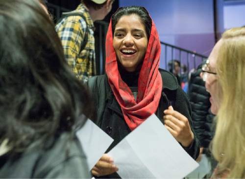 "Rick Egan  |  The Salt Lake Tribune  Sonita Alizadeh, has a laugh with her friends, at Wasatch Academy in Mount Pleasant, Wednesday,  Jan. 13, 2016.  Alizadeh is an Afghani singer who has been at Wasatch Academy in Mount Pleasant, for 1 1/2 years. She is the subject of a new documentary at Sundance, ""Sonita,"""