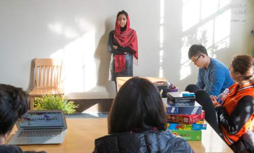 "Rick Egan  |  The Salt Lake Tribune  Sonita Alizadeh, speaks in her ESL class, about her experiences in her country, at Wasatch Academy in Mount Pleasant, Wednesday,  Jan. 13, 2016.  Alizadeh is an Afghani singer who has been at Wasatch Academy in Mount Pleasant, for 1 1/2 years. She is the subject of a new documentary at Sundance, ""Sonita,"""