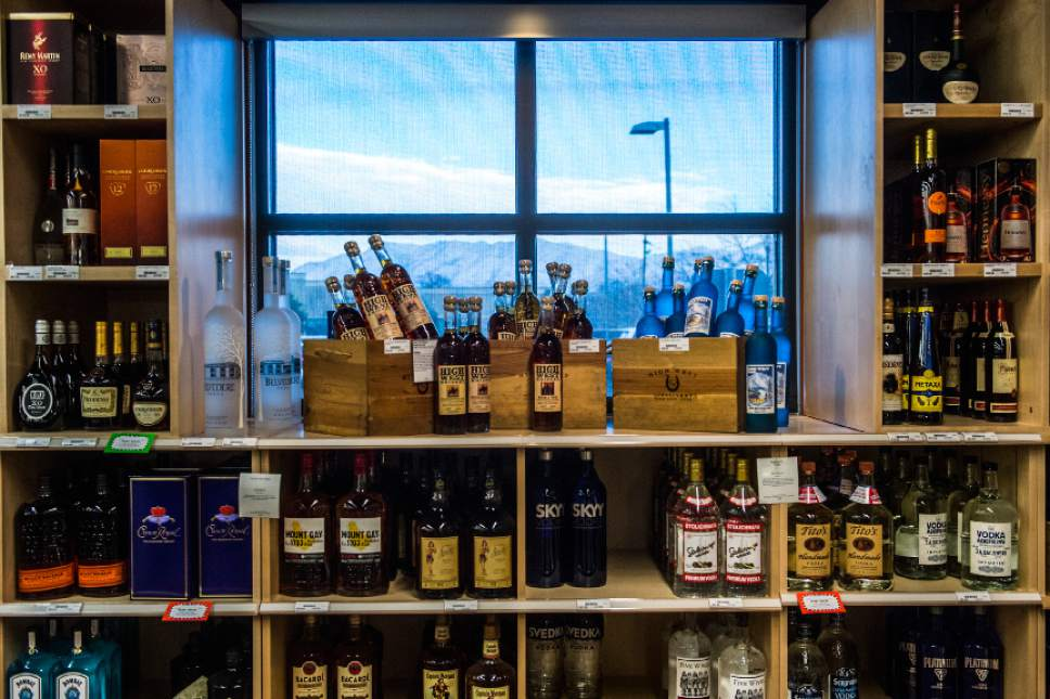 Chris Detrick  |  The Salt Lake Tribune Liquor for sale at the Utah Wine Store, 280 Harris Ave S, Salt Lake City, Friday January 22, 2016.