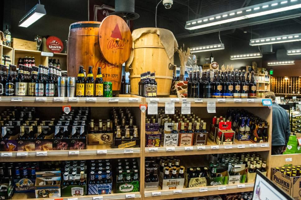 Chris Detrick  |  The Salt Lake Tribune Beer for sale at the Utah Wine Store, 280 Harris Ave S, Salt Lake City, Friday January 22, 2016.