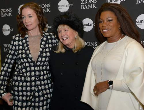 "Leah Hogsten  |  The Salt Lake Tribune l-r Julianne Nicholson, Diane Ladd and Lorraine Toussaint arrive for the premiere screening of ""Sophie and the Rising Sun"" during the Sundance Film Festival at Rose Wagner Theatre in Salt Lake City, January 22, 2016."