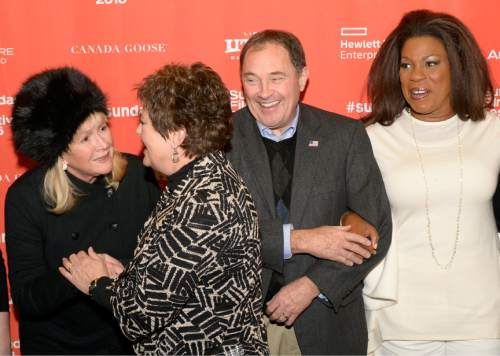 Leah Hogsten  |  The Salt Lake Tribune l-r Diane Ladd greets Jeanette and Gov. Gary Herbert with  Lorraine Toussaint for the premiere screening of ìSophie and the Rising Sunî during the Sundance Film Festival at Rose Wagner Theatre in Salt Lake City, January 22, 2016.