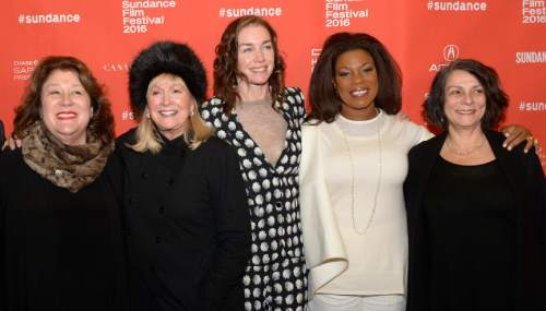 "Leah Hogsten  |  The Salt Lake Tribune l-r  Margo Martindale, Diane Ladd, Julianne Nicholson, Lorraine Toussaint and writer-director Maggie Greenwald arrive for the premiere screening of ""Sophie and the Rising Sun"" during the Sundance Film Festival at Rose Wagner Theatre in Salt Lake City, January 22, 2016."