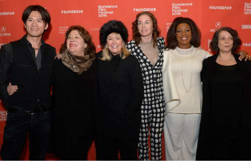 "Leah Hogsten  |  The Salt Lake Tribune l-r Takashi Yamaguchi, Margo Martindale, Diane Ladd, Julianne Nicholson, Lorraine Toussaint and writer-director Maggie Greenwald arrive for the premiere screening of ""Sophie and the Rising Sun"" during the Sundance Film Festival at Rose Wagner Theatre in Salt Lake City, January 22, 2016."