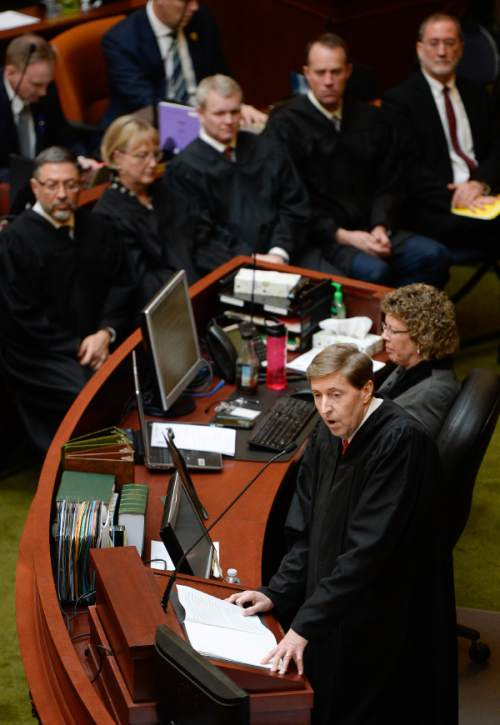 Francisco Kjolseth | The Salt Lake Tribune Chief justice of the Utah Supreme Court Matthew B. Durrant gives the state of the judiciary address in the House chambers at the Utah State Capitol on Monday, the first day of the 2016 Legislative session.