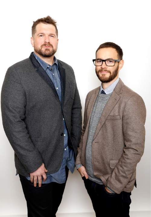 """Producer Seth Gordon, left, and director Clay Tweel pose for a portrait to promote the film, """"Gleason"""", at the Toyota Mirai Music Lodge during the Sundance Film Festival on Friday, Jan. 22, 2016 in Park City, Utah. (Photo by Matt Sayles/Invision/AP)"""