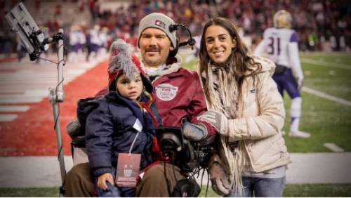 """Steve Gleason, subject of the upcoming Sundance documentary """"Gleason: The Diary of a Saint"""" poses with his wife Michel and son Rivers. Courtesy Morgan Michaels"""