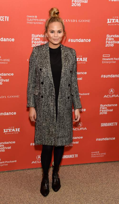 "Model Chrissy Teigen poses at the premiere of the film ""Southside With You"" at the 2016 Sundance Film Festival on Sunday, Jan. 24, 2016, in Park City, Utah. (Photo by Chris Pizzello/Invision/AP)"