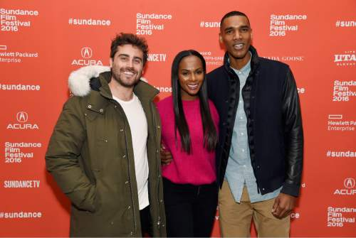 "Richard Tanne, left, writer/director of ""Southside With You,"" poses with cast members Tika Sumpter, center, and Parker Sawyers at the premiere of the film at the 2016 Sundance Film Festival on Sunday, Jan. 24, 2016, in Park City, Utah. (Photo by Chris Pizzello/Invision/AP)"