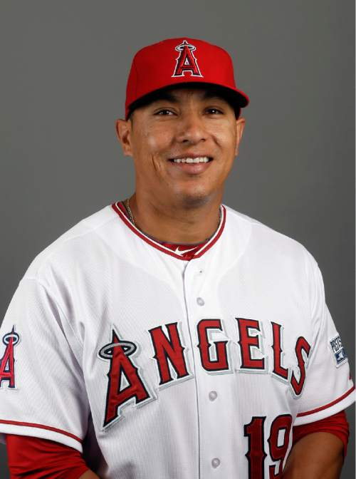 This is a 2015 photo of Los Angeles Angelsí Efren Navarro. This image reflects the Angels active roster as of Saturday, Feb. 28, 2015, when the photo was taken. (AP Photo/Morry Gash)