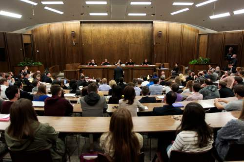 Spencer Heaps  |  Pool Students gather to listen in on oral argument in the Utah Supreme Court case Scott v. Universal Industrial Sales, Inc., et al., at Brigham Young University in Provo on Thursday. The court heard two cases in the Moot Court room of the University's law school.