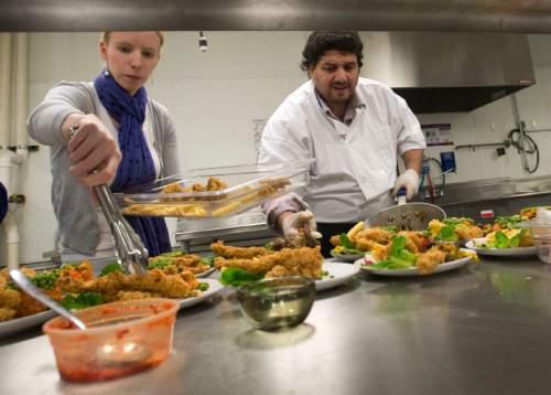 Steve Griffin  |  The Salt Lake Tribune Nour Eddin Abdul Bari, a Syrian refugee, who was a chef in Damascus, prepares a meal for a focus group as part of the Spice Kitchen Incubator in Salt Lake City on Wednesday, Jan. 20, 2016. He is getting help from the Spice Kitchen Incubator and plans on opening his own establishment in the Salt Lake Valley.