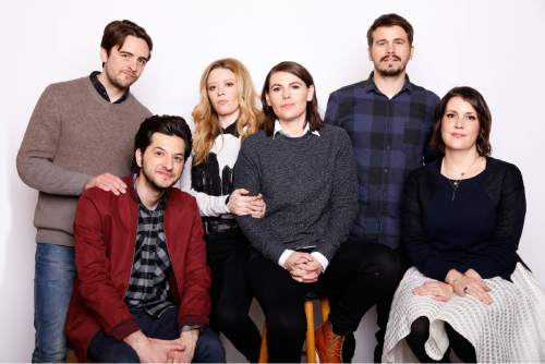 """Clockwise from top left, Actors Vincent Piazza, and Natasha Lyonne, writer, director and actor, Clea DuVall, actors Jason Ritter, Melanie Lynskey, and Ben Schwartz pose for a portrait to promote the film, """"The Intervention"""", at the Toyota Mirai Music Lodge during the Sundance Film Festival on Tuesday, Jan. 26, 2016 in Park City, Utah. (Photo by Matt Sayles/Invision/AP)"""