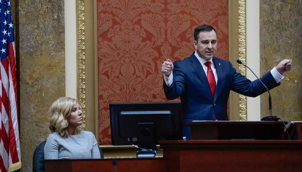 Francisco Kjolseth | The Salt Lake Tribune Speaker of the House, Greg Hughes speaks in support of the state taking back Federal lands during his opening remarks of the 2016 Legislative session on Monday, Jan. 25, 2016 at the Utah Capitol.