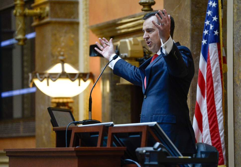 Francisco Kjolseth | The Salt Lake Tribune Speaker of the House, Greg Hughes gives his opening remarks for the start of the 2016 Legislative session on Monday, Jan. 25, 2016 at the Utah Capitol.