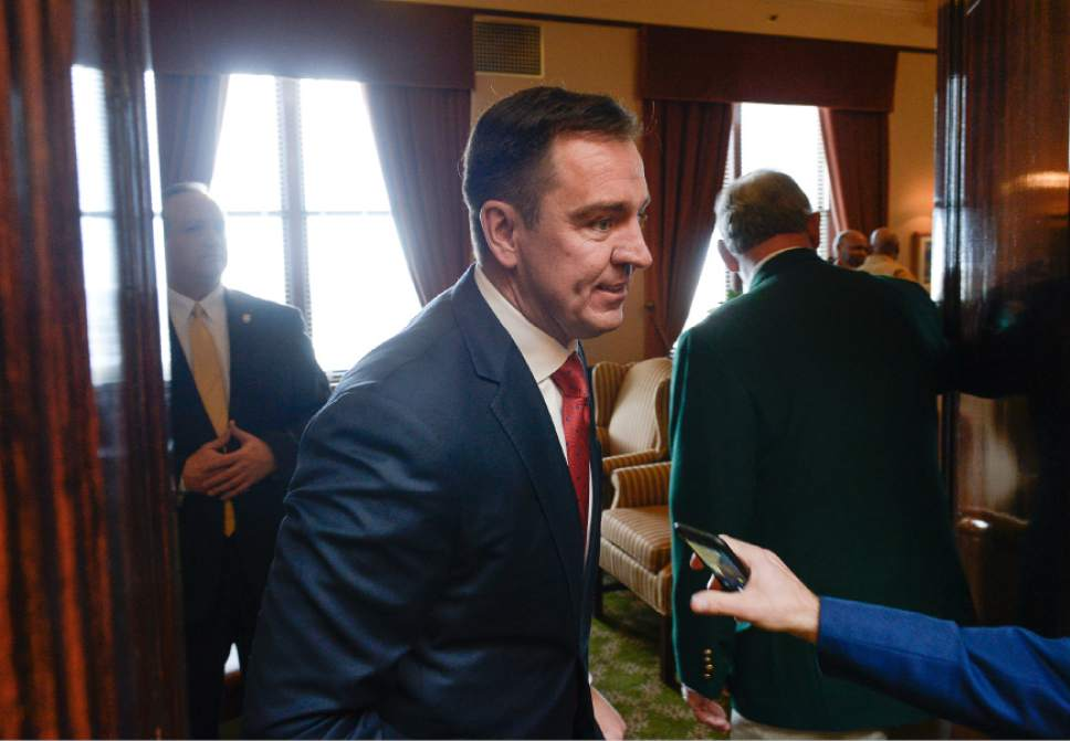 Francisco Kjolseth | The Salt Lake Tribune Speaker of the House, Greg Hughes gets ready to give his opening remarks for the start of the 2016 Legislative session on Monday, Jan. 25, 2016 at the Utah Capitol.