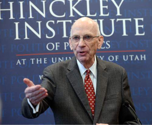 Al Hartmann  |  The Salt Lake Tribune Former Utah Senator Bob Bennett speaks at the The Hinckley Institute of Politics at the University of Utah Wednesday Jan. 27 as he is inducted into the Hinckley Hall of Fame.  He is still passionate about education, business and government service.