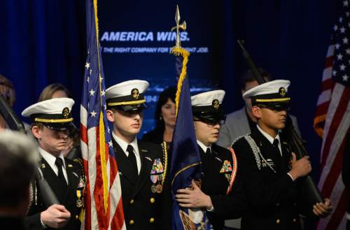 Francisco Kjolseth | The Salt Lake Tribune The West High School Navy JROTC presents the colors as Northrop Grummanís Salt Lake City site celebrates the award of the Long-Range Strike Bomber (LRS-B) program on Thursday, Jan. 28, 2016.