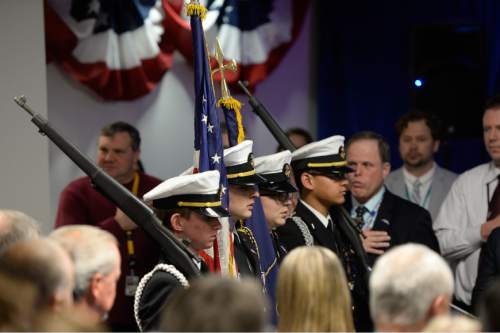Francisco Kjolseth | The Salt Lake Tribune The West High School Navy JROTC presents the colors as Northrop Grumman's Salt Lake City site celebrates the award of the Long-Range Strike Bomber (LRS-B) program on Thursday, Jan. 28, 2016.