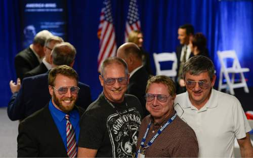 Francisco Kjolseth | The Salt Lake Tribune Employees of Northrop Grumman's Salt Lake City site pose for photographs wearing American flag glasses as they company celebrates the award of the Long-Range Strike Bomber (LRS-B) program.