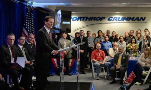 Francisco Kjolseth | The Salt Lake Tribune Congressman Chris Stewart addresses the employees gathered at Northrop Grummanís Salt Lake City site to celebrate the award of the Long-Range Strike Bomber (LRS-B) program. This capability is critical to national security and is a significant win for the company.