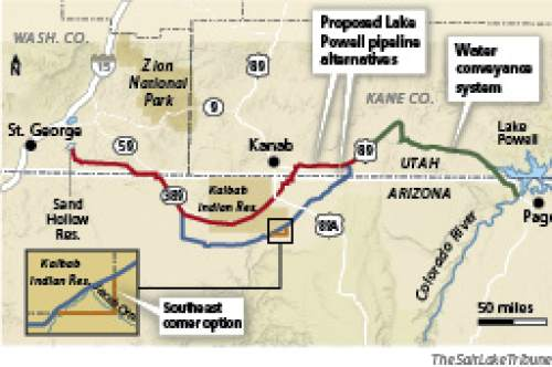 Lake Powell pipeline alternatives Three alternatives are explored in the latest Lake Powell pipeline proposal, including one that closely follows existing highways (in red). Another alternative (in blue) dips farther south into Arizona, just clipping the southeast corner of the Kaibab Indian Reservation. A third alternative skirts the reservation's southeast corner.