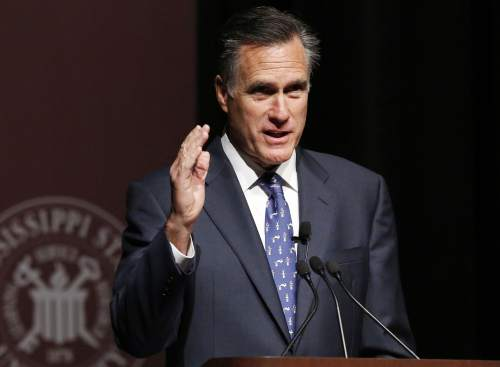 FILE - In this Jan. 28, 2015 file photo, former GOP presidential candidate Mitt Romney speaks at Mississippi State University in Starkville, Miss. Romney, the 2012 GOP presidential nominee Mitt Romney says he will not run for president in 2016. (AP Photo/Rogelio V. Solis, File)