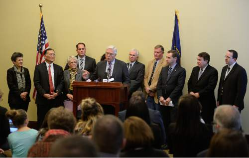 Francisco Kjolseth | The Salt Lake Tribune House Representative Lowry Snow, R-St. George, center,  is joined by other members of the legislature to present a group of bills targeted at the opioid overdose crisis that is sweeping the state. Opioid overdose is on the rise in Utah. Utah ranks 4th highest in the nation for drug overdose deaths.