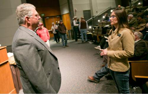 Dr. Angus McIntosh (left) talks about federal overreach with Idaho State Legislator Heather Scott (R-D1) during a break between speakers at a Western Rangelands Property Rights Workshop held at the Boise Centre in Boise, Idaho on Saturday January 30, 2016. Kyle Green for The Salt Lake Tribune