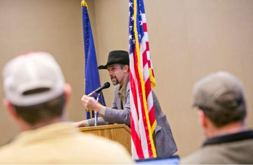 Jon Pratt addresses attendees of a Western Rangelands Property Rights Workshop held at the Boise Centre in Boise, Idaho on Saturday January 30, 2016. Kyle Green for The Salt Lake Tribune