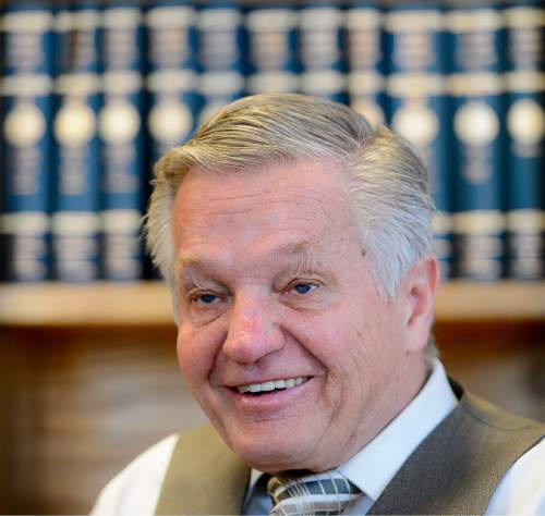 Trent Nelson  |  The Salt Lake Tribune Long time Salt Lake County Deputy District Attorney Robert Stott is retiring after 40 years in service to the county. He's prosecuted some of Utah's most high-profile cases from Mark Hoffmann to Mark Hacking and many more. Stott was photographed in his Salt Lake City office, Tuesday January 26, 2016.