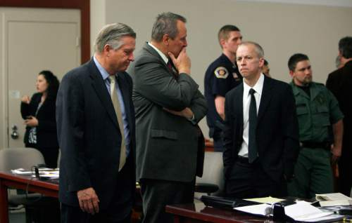 Francisco Kjolseth  |  The Salt Lake Tribune     Salt Lake County prosecutor Robert Stott, Attorney General Mark Shutleff and prosecutor Thomas Brunker react following the setting of an execution date for Ronnie Lee Gardner of June 18, 2010, by a state judge at the Matheson Courthouse in Salt Lake City on Friday, Apr. 23, 2010. Setting the stage for Utah's first execution in more than a decade. Gardner has been on death row for over 24 years for the fatal shooting of attorney Michael Burdell during an April 2, 1985, escape attempt from a downtown Salt Lake City courthouse.