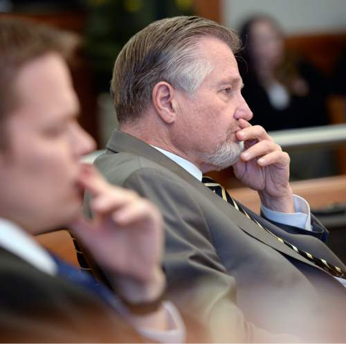 Al Hartmann  |  The Salt Lake Tribune  Prosecuter Robert Stott listens to witness testimony during the preliminary hearing of David Fresques.  Fresques was convicted of killing three people at a Midvale home in February 2013.
