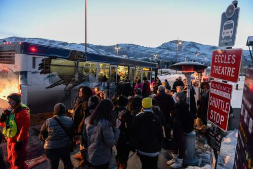 Francisco Kjolseth | The Salt Lake Tribune As the crowds descend on Park City for the Sundance Film Festival, buses keep a steady rotation to move the masses. Transit agencies in Park City and Logan do not charge fares.