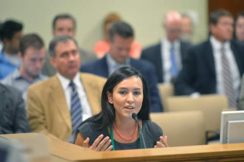 Chris Detrick  |  The Salt Lake Tribune Marina Lowe, Legislative and Policy Counsel, American Civil Liberties Union of Utah, speaks during a Law Enforcement and Criminal Justice Interim Committee meeting about the Federal 1033 Program in the House Building Wednesday September 17, 2014.  The Federal 1033 Program distributes surplus military weapons and equipment to local law enforcement agencies.