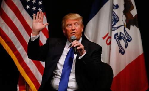 Republican presidential candidate Donald Trump speaks during a campaign event at the Adler Theater, Saturday, Jan. 30, 2016, in Davenport, Iowa. (AP Photo/Paul Sancya)