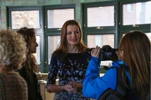 Jared VanLeuven     Zions Bank  Geena Davis delivered the keynote speech at the 2016 Sundance Film Festival Utah Women's Leadership Celebration in Park City on Thursday January 28, 2016.