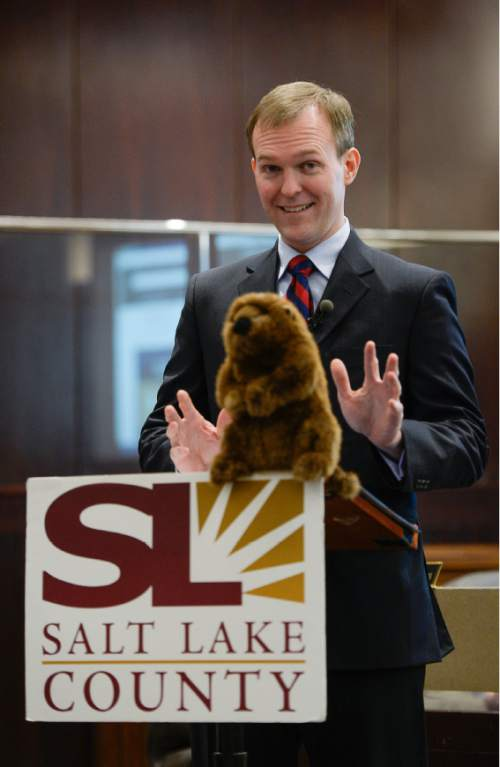 "Francisco Kjolseth | The Salt Lake Tribune Salt Lake County Mayor Ben McAdams draws some analogies to Groundhog Day with the use of a prop as he begins his annual ""State of the County"" speech in the County Council chambers in the  County Government Center."