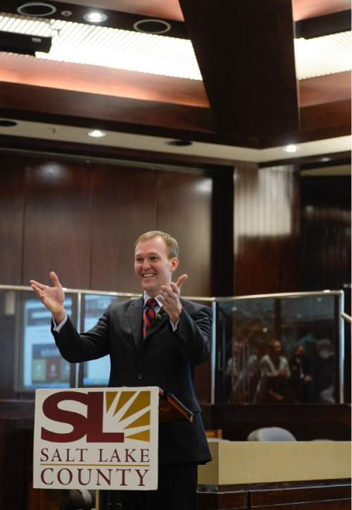 "Francisco Kjolseth | The Salt Lake Tribune Salt Lake County Mayor Ben McAdams delivers his annual ""State of the County"" speech in the County Council chambers in the  County Government Center."