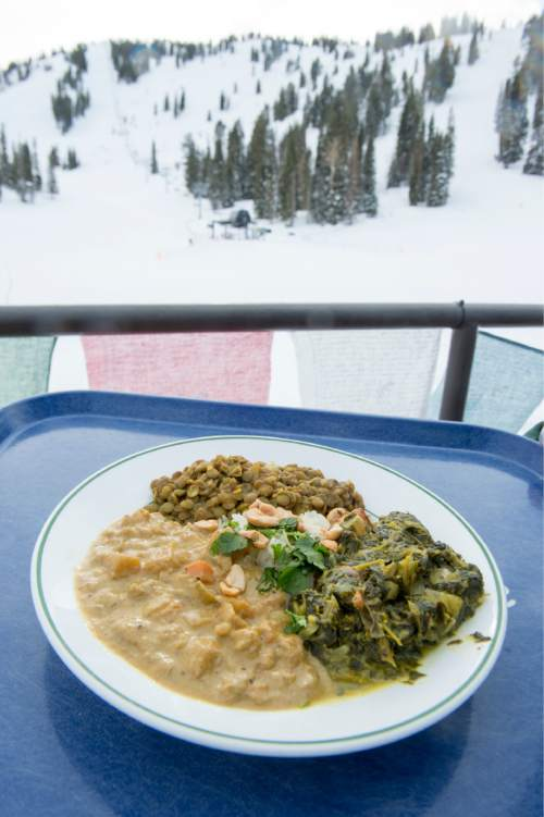 Rick Egan  |  The Salt Lake Tribune  The Himalayan veggie entrée at the  Roundhouse restaurant  on the mountain at Solitude Mountain Resort.
