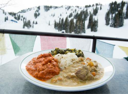 Rick Egan  |  The Salt Lake Tribune  The Himalayan meat entrée at the Roundhouse restaurant  on the mountain at Solitude Mountain Resort.