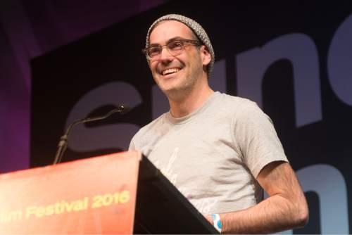 "Rick Egan  |  The Salt Lake Tribune  Chad Hartigan receives the Waldo Salt Screenwriting Award for ""Morris From America"" at the Sundance Film Festival Awards Ceremony in Park City, Saturday, January 30, 2016."