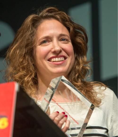 "Rick Egan  |  The Salt Lake Tribune  Director: Elite Zexer receives the World Dramatic Grand Jury Prize for her film ""Sand Storm"" at the Sundance Film Festival Awards Ceremony in Park City, Saturday, January 30, 2016."