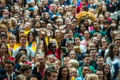 Chris Detrick  |  The Salt Lake Tribune Charter school students from around the state cheer before Governor Gary R. Herbert speaks to them at the Utah State Capitol Wednesday February 3, 2016.