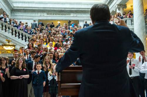 Chris Detrick  |  The Salt Lake Tribune Governor Gary R. Herbert waits to speaks to a group of charter school students at the Utah State Capitol Wednesday February 3, 2016.