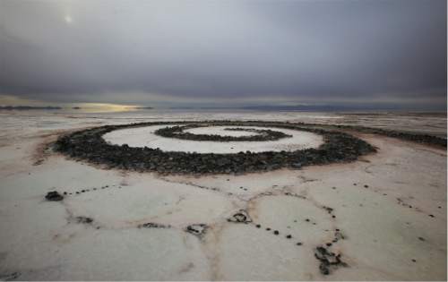 Francisco Kjolseth  |  Kjolseth Photography The Spiral Jetty earth works on the North edge of the Great Salt Lake created by artist Robert Smithson in 1970 is visible on Wednesday, Nov. 20, 2013. The 1,500 ft long spiral that is 15 ft wide has been below water many times since its creation in an ever changing landscape.