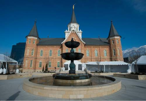 Steve Griffin  |  The Salt Lake Tribune  A media tour was given of the new Provo City Center Temple in Provo on Monday, January 11, 2016. The temple used to be the historic Provo Tabernacle, which was gutted by a fire in 2010..